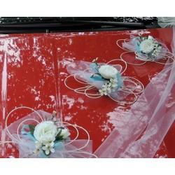 """Výzdoba svatebního auta- """"Bílé růže s tyrkysovou"""""""
