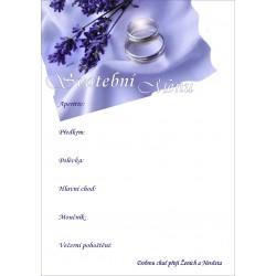 """Svatební menu """"Prstýnky a levandule"""""""