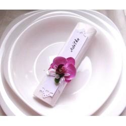 kroužek na ubrousky - jmenovka + 2 ubrousky /orchidej