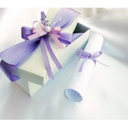 Svatební oznámení v krabičce s levandulkou