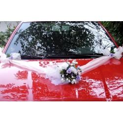 """svatební auto - """"Bílé růže s lila"""""""