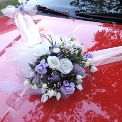 """svatební auto - """"Bílé růže s lila a levandulí"""""""