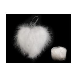 Vánoční / svatební peříčkové srdce s perlami