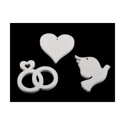 Dřevěné svatební srdce, prstýnky, hrdlička
