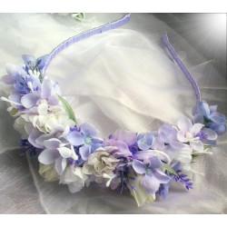 čelenka z látkových květů s levandulí