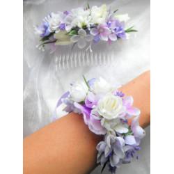 náramek z látkových květin s levandulí