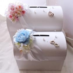 svatební pokladnička menší - modrobílá