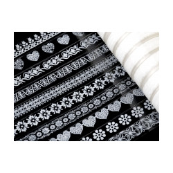 Samolepící páska bílá s ornamenty šíře 15 mm