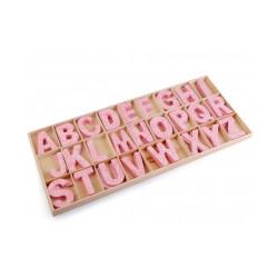 Dřevěná písmena v krabici s potiskem - růžová, modrá