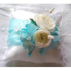 polštářek na prstýnky tyrkys s růžemi
