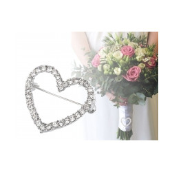 Brož s broušenými kamínky / svatební ozdoba na kytice