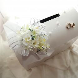svatební pokladnička velká- zlatobílá