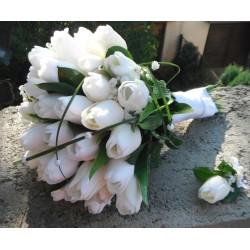 Svatební kytice -bílé tulipány (umělá)