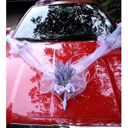 """Výzdoba svatebního auta- srdce+šerpa s mašlemi """"Levandule"""""""